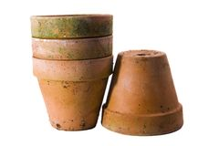 Pots. Four terracotta pots on a white background Royalty Free Stock Images