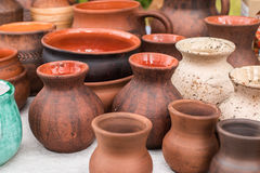 Pots And Pottery Earthen Sauceres Royalty Free Stock Photo