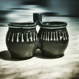 The pots. Artistic look in duotone style. Royalty Free Stock Images