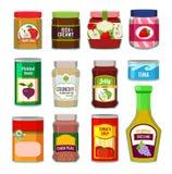 Pots avec conserve de fruits et d'autres différentes marchandises Photos de vecteur dans le style plat illustration de vecteur