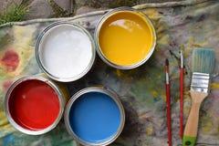 Pots avec la peinture Photos stock