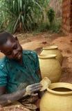 Pots being made in Burundi. Royalty Free Stock Images