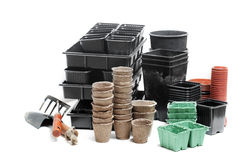 Pots and boxes Royalty Free Stock Photography