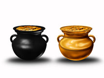 Pots of clay with coins Royalty Free Stock Images