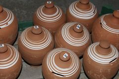 Pots. Clay pots from a store in Thassos Royalty Free Stock Photo