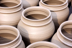 Pots Close-Up. Indian Hand Made Pots Close-up Royalty Free Stock Image