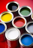 Pots of colorful paint Royalty Free Stock Photos