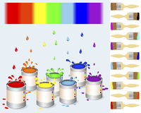 Pots of colour paint and a paintbrush Royalty Free Stock Images