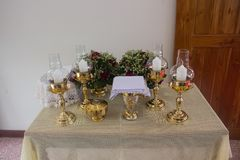 Pots and containers serving for carry of Holy Communion stock photos