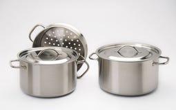 Pots d'acier inoxydable Images libres de droits
