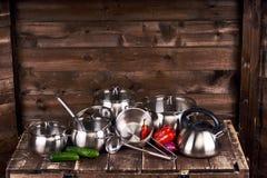 Pots d'acier inoxydable Photographie stock