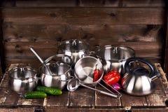 Pots d'acier inoxydable Photos libres de droits
