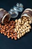Pots d'arachides et de noisettes présentées dans Images stock