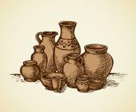 Pots d'argile de différentes tailles et formes Croquis de vecteur Photographie stock