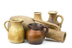 Pots d'argile, vieux vases en céramique Photographie stock
