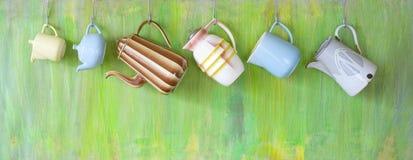 Pots de café de vintage Images libres de droits