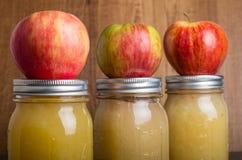 Pots de compote de pommes faite maison avec des pommes Images libres de droits