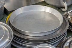 Pots de cuivre brillants de café Photographie stock