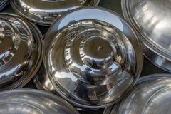 Pots de cuivre brillants de café Photo stock