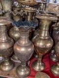 Pots de cuivre brillants de café Photo libre de droits