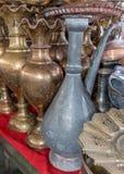 Pots de cuivre brillants de café Photographie stock libre de droits