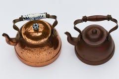 Pots de cuivre de bouilloires Photo stock