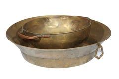 Pots de cuivre faits main antiques Photographie stock