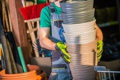 Pots de fleur de magasin de jardin Image libre de droits