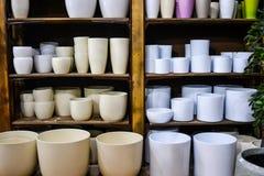 Pots de fleur vides élégants sur l'étagère en bois d'intérieur dans la boutique Photographie stock libre de droits