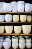 Pots de fleur vides élégants sur l'étagère en bois d'intérieur dans la boutique Images libres de droits