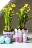Pots de fleurs faits maison d'oeufs de lapins de décorations de Pâques Image stock