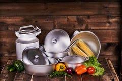 Pots de fonte d'aluminium Photo libre de droits