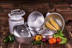 Pots de fonte d'aluminium Image libre de droits