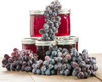Pots de gelée et de raisins de raisin Photo libre de droits