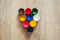 Pots de gouache Photographie stock