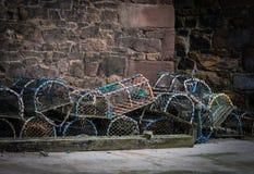 Pots de homard de Beadnell Photos libres de droits