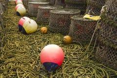 Pots de homard et équipement associé Image libre de droits