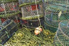 Pots de homard et équipement associé Images stock