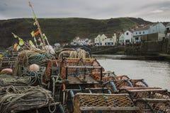 Pots de homard sur le port Images libres de droits