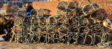 Pots de homard Whitby Yorkshire Photographie stock
