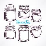 Pots de maçon de croquis - 2 illustration de vecteur