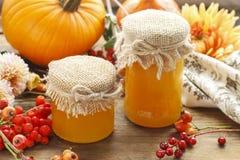 Pots de miel et belles fleurs et plantes d'automne Photos stock