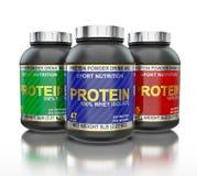Pots de protéine d'isolement sur le fond blanc avec Images stock