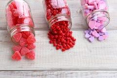 Pots de sucrerie de valentines Photo stock