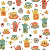 Pots de tes de cru de vecteur, tasses de thé, fond sans couture de modèle illustration de vecteur