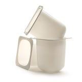 trois pots en plastique de yaourt photo stock image du conteneur cr meux 44442696. Black Bedroom Furniture Sets. Home Design Ideas