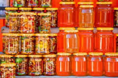 Pots with different sorts of honey. In Russian marketplace Stock Photography