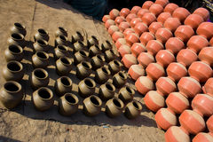 Pots in the drying process Stock Image