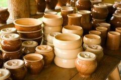 Pots and earthen saucer. Pots and pottery earthen sauceres Stock Photos