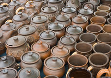 Pots and earthen saucer. Pots and pottery earthen sauceres Stock Images